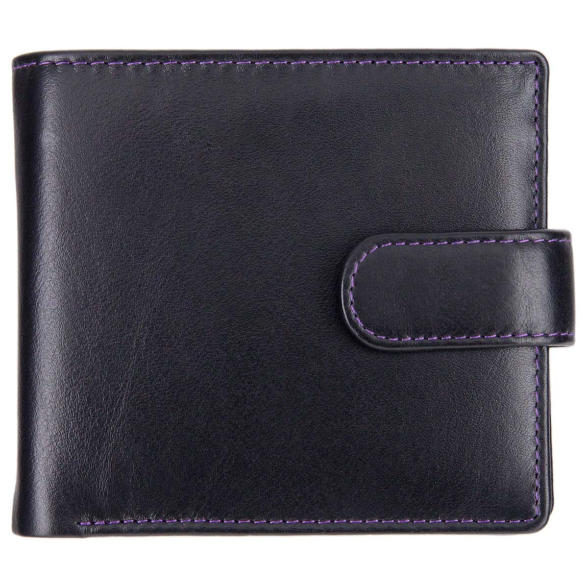1137ff9ff10 Leather Wallet with Coin Pocket   Window - Mala Axis 163 Black-Purple