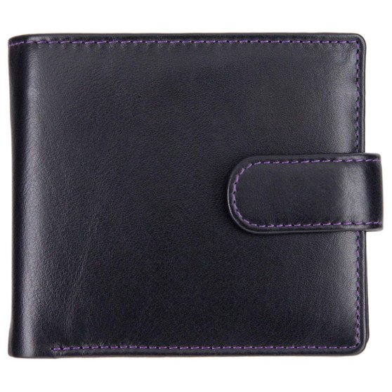 Leather wallet with coin-pocket axis-163 black-purple : front