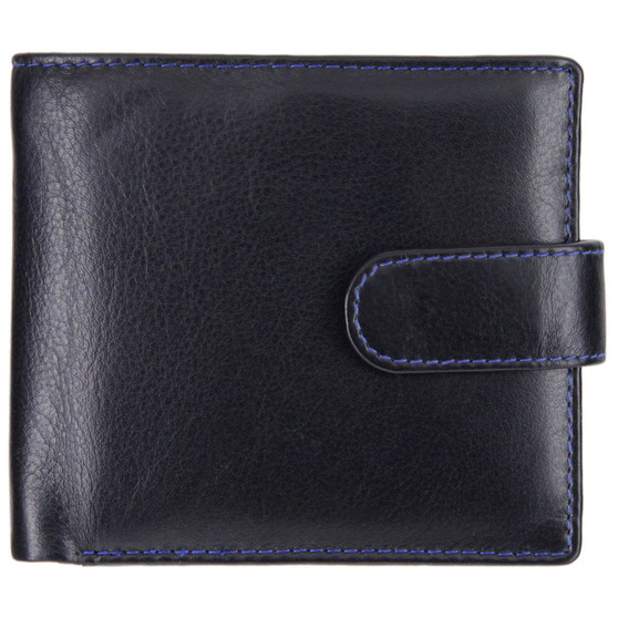 Leather wallet with coin-pocket axis-163 black-blue : front