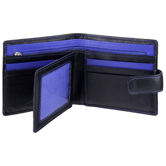 Leather Wallet with ID/Pass Window Mala Axis-146 Black/Blue : Open 2