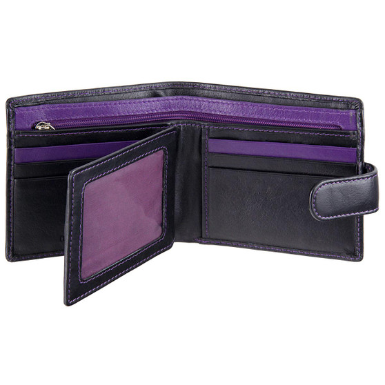 Leather Wallet with ID/Pass Window Mala Axis-146 Black/Purple : Open 2