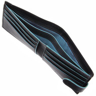 Golunski Leather Tabbed Wallet with Colour Detail Black/Blue : Lining