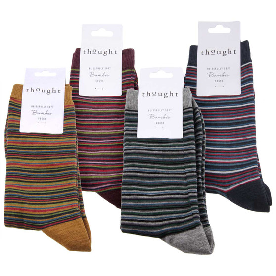 Thought Bamboo Socks for Men. SPM508 'William' Multistripe: 4 Pairs