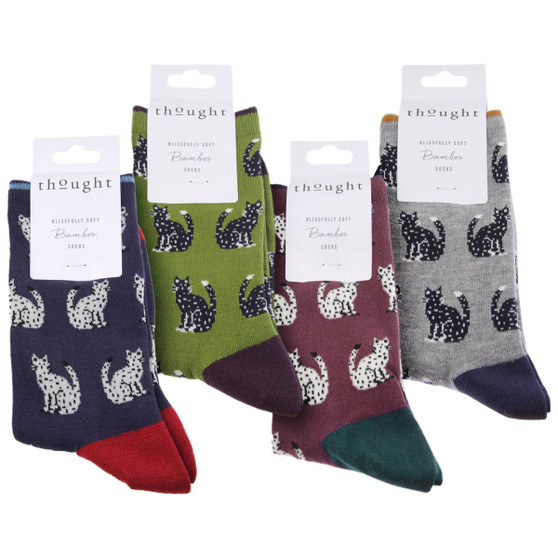 Thought Women's Bamboo Socks SPW493 Kitty : 4 Pairs