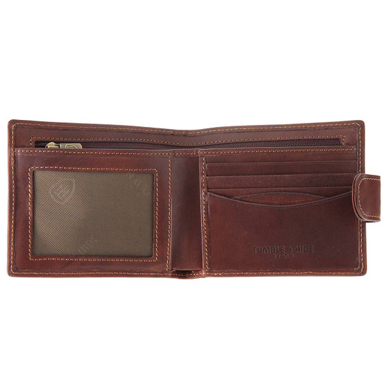 Tumble & Hide Italian Leather Wallet with Tab - Brown : Open