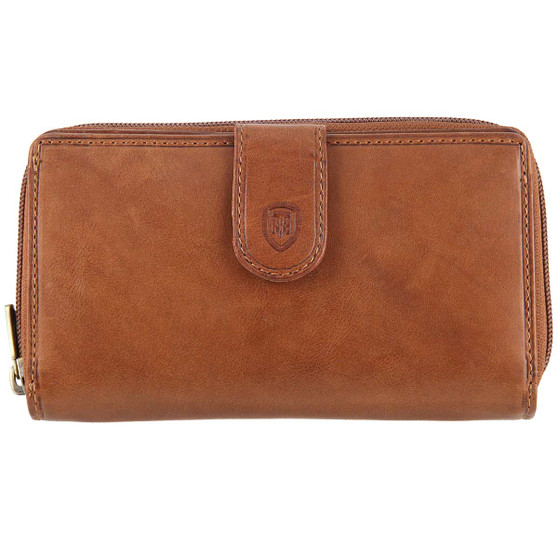 Tumble & Hide Large Zipped Purse 1026 THV  Cognac : Front