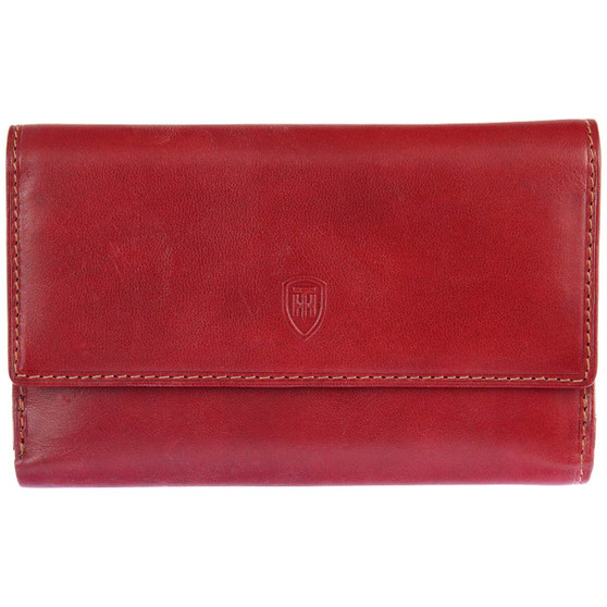 Tumble and Hide Large Italian Leather Purse 1260 Red : Front
