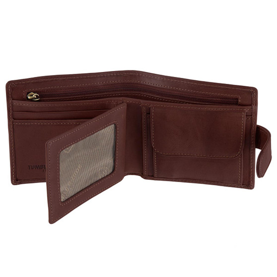 Tumble & Hide Italian Leather Wallet with Coin Pocket 2014 Brown : Open