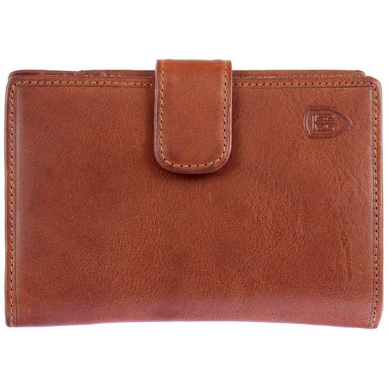 Tumble & Hide Italian Leather Purse with a Tab & Zip :1263 THV Cognac : Front