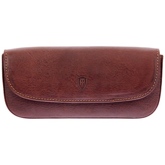 Tumble & Hide Italian Leather Glasses Case 4303 THV Brown : Front