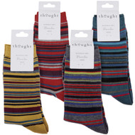 Thought Bamboo Socks for Men. SPM579 'Carlo' Multistripe : 4 Pairs