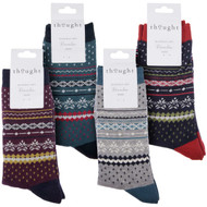 Thought Bamboo Socks for Men. SPM576 'Reginald' Fair Isle : 4 Pairs