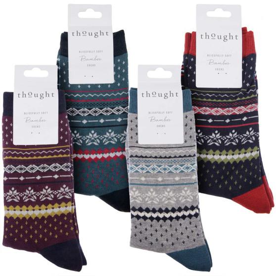 Thought Bamboo Socks for Men. SPM576 'Reginald' Fair Isle : 4 Pairs