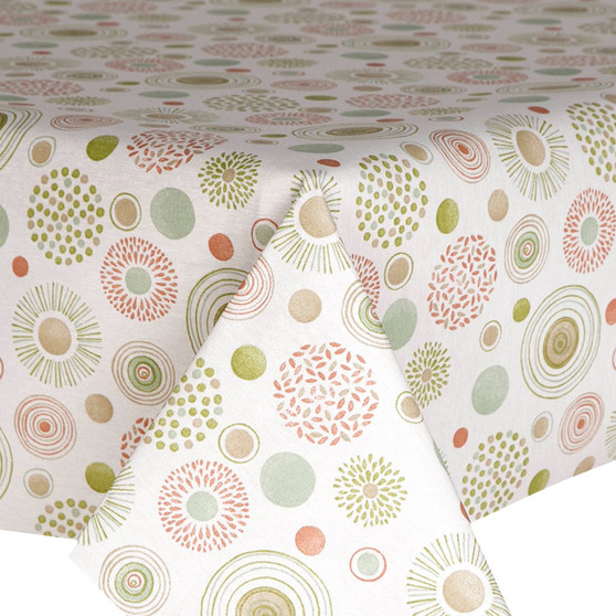Prestons Wipe Clean Acrylic Coated Tablecloth; Loneta Earth - Green & Brown colours