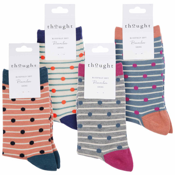 Thought Women's Bamboo Socks SPW482 Hope Spots 4 Pairs