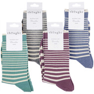 Thought Women's Bamboo Socks SPW624 Jacinda Striped: 4 Pairs
