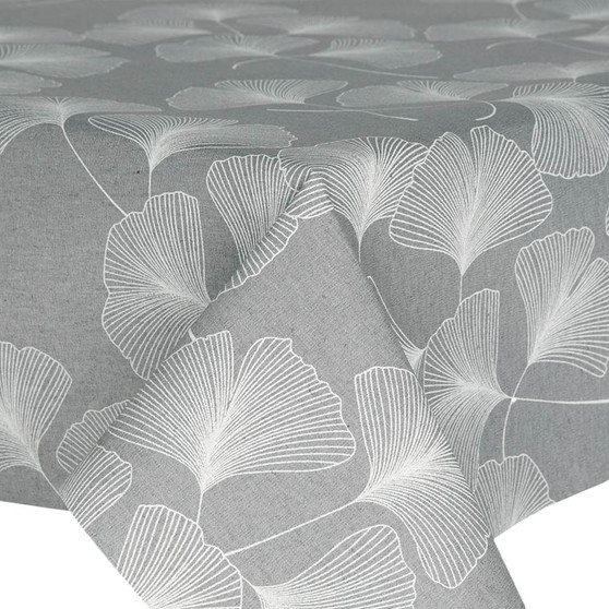 Prestons Wipe Clean Acrylic Coated Tablecloth - Loneta Gingko: Grey