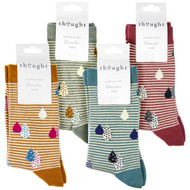 Thought Women's Bamboo Socks SPW673 Juliette Raindrops: 4 folded pairs showing colours