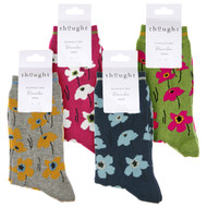 Thought Women's Bamboo Socks SPW668 Peggie Floral : 4 folded pairs showing colours