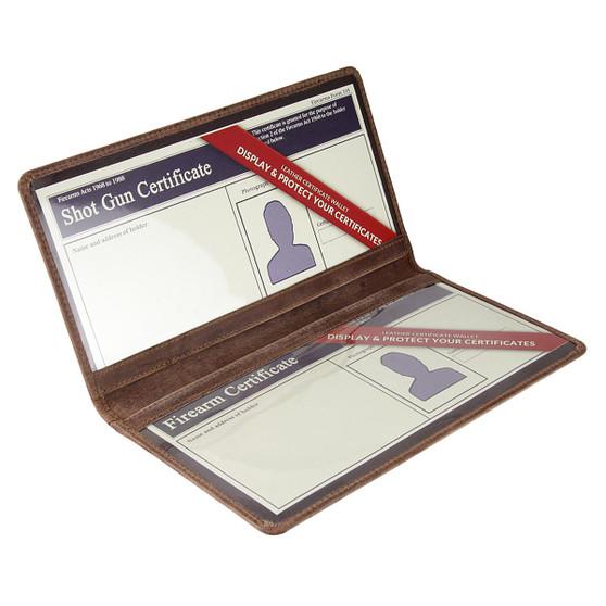 double shotgun and firearm certificate wallet open2