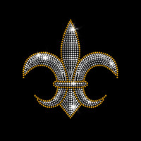 Gold Trim Fleur de Lis Iron-On Rhinestone Transfer
