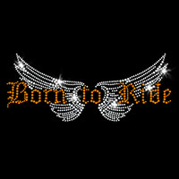 Born to Ride Iron On Rhinestone Transfer