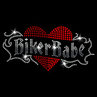 Biker Babe Iron On Rhinestone Transfer