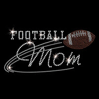 Football Mom Iron On Rhinestone & Rhinestud Transfer
