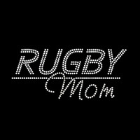 Rugby Mom Iron On Rhinestone Transfer