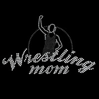 Wrestling Mom Victory Iron On Rhinestone Transfer