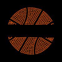 Split Basketball Iron On Rhinestud Transfer