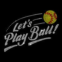 Let's Play Softball Iron On Rhinestone Transfer