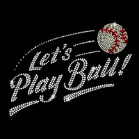 Let's Play Baseball Iron On Rhinestone Transfer