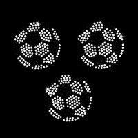 Set of 3 Soccer Balls Iron On Rhinestone Transfer -Set of 3