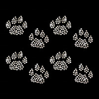 Set of 4 Cat Paw Tracks Iron On Rhinestone Transfer