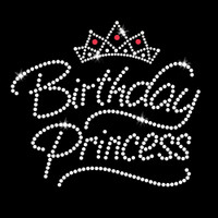 Birthday Princess Iron On Rhinestone and Rhinestud Transfer