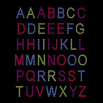 Colorful Alphabet Iron On Rhinestud Transfer