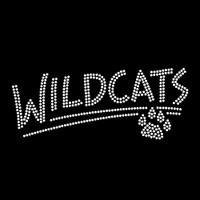 Wildcats with Paw Iron On Rhinestone Transfer