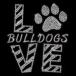 Love Bulldogs Clear Iron On Rhinestone Transfer