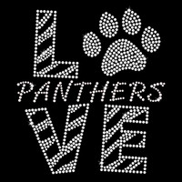 Love Panthers Clear Iron On Rhinestone Transfer