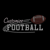 Custom Mascot Football Rhinestone and Rhinestud  Iron On Transfer