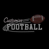 Custom Mascot Football Rhinestone and Rhinestud  Iron On Transfer
