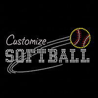 Custom Mascot Softball Rhinestone Iron On Transfer