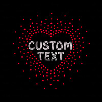 Custom Heart Burst Iron On Rhinestone and Rhinestud Transfer