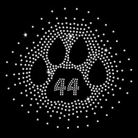 Custom Number Paw Burst Iron On Rhinestone Transfer
