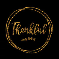 Gold Thankful Iron On Rhinestud Transfer by Jubilee Rhinestones