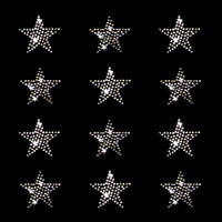 Set of 12 Clear Star Iron On Rhinestone Transfers