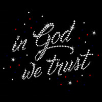 In God We Trust Iron On Rhinestone Transfer