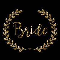 Bride Laurel Gold Iron On Rhinestud Transfer