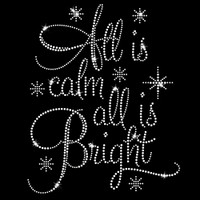 All is Calm All is Bright Iron On Rhinestone Transfer